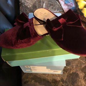Brand New Kate Spade Burgundy Velvet Mules Size 11